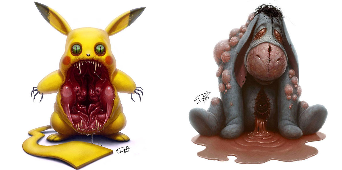 artist turns lovable cartoon characters into terrifying monsters
