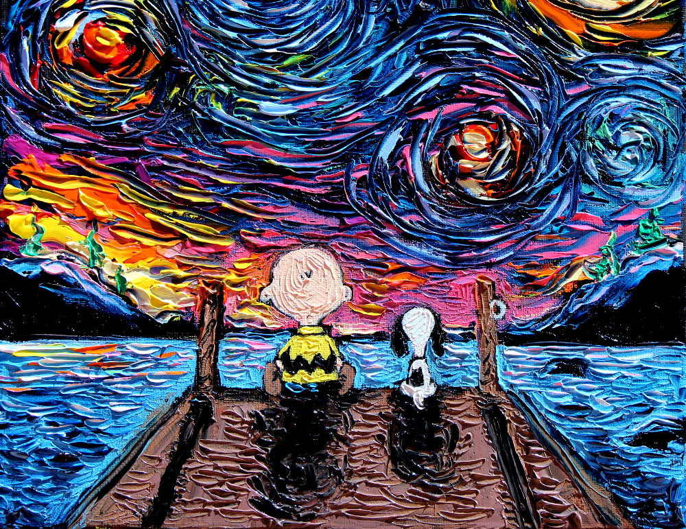 Pop Culture Icons Invade Van Gogh's 'Starry Night' Painting In Adorable Series