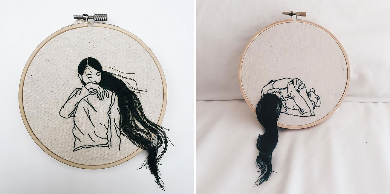 Hand Sewn Hairstyles That Cascade From Embroidered Hoops By Sheena Liam