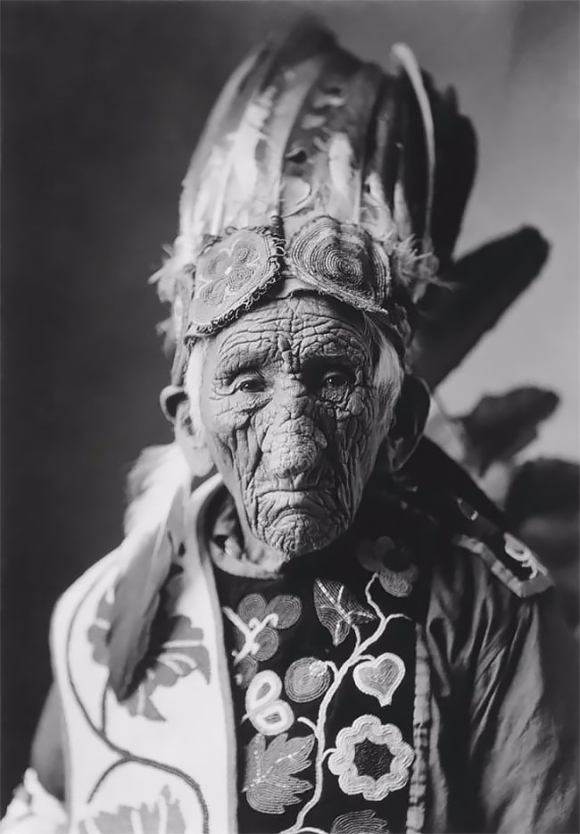 Portrait photos of white wolf aka chief john smith the oldest native american to have ever lived