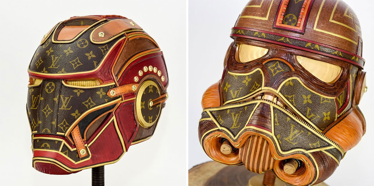 Craftsman Gabriel Dishaw Upcycles Louis Vuitton Bags Into Elaborate 'Star Wars' Helmets