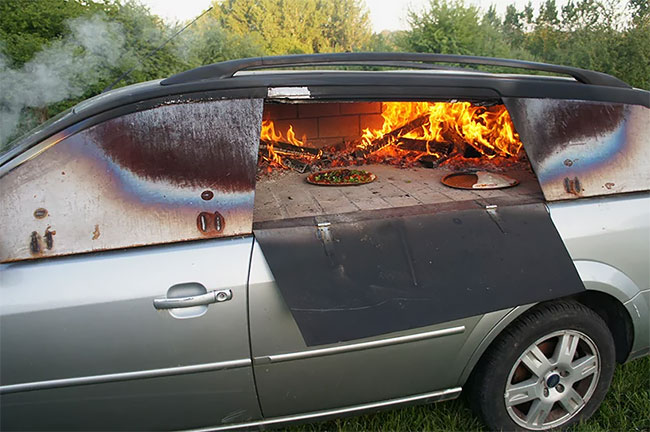 This Old Car Was Turned Into A Wood Burning Pizza Oven