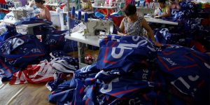 Photos Show Chinese Factory Workers Making 'Trump 2020' Flags