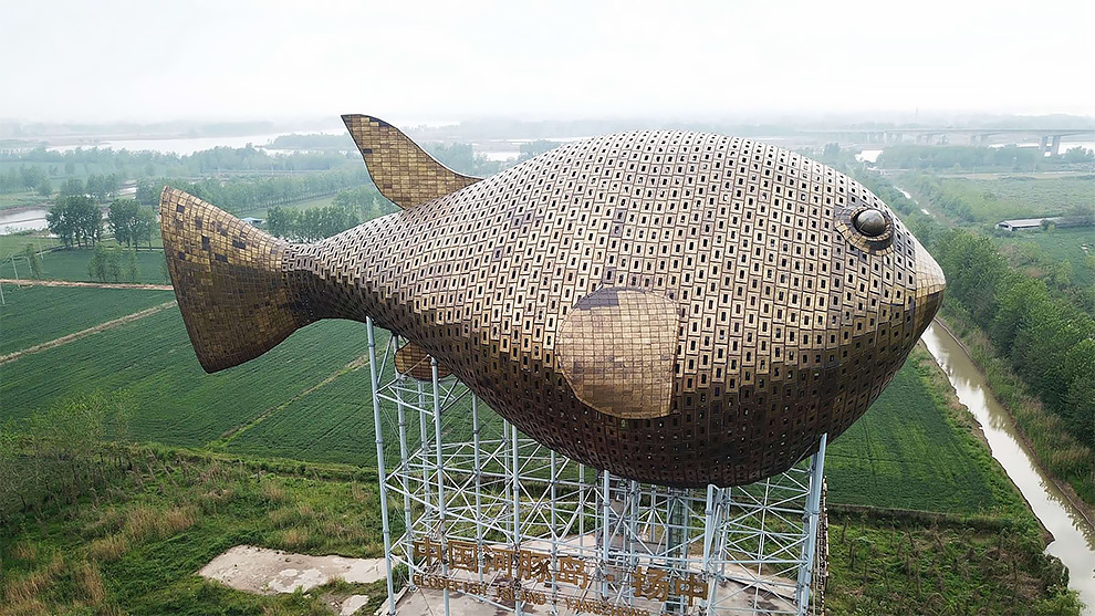 An Aerial View Of The 90-Meter-Long Puffer Fish Tower In East China