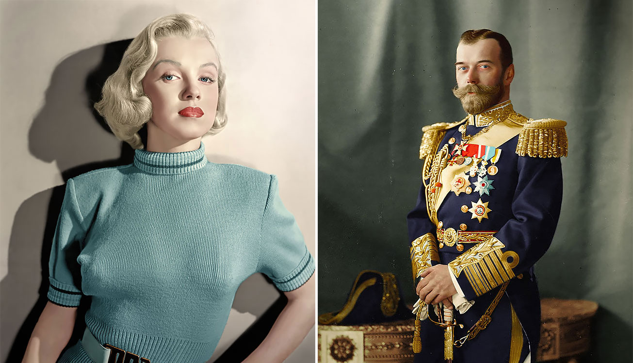 Artist mario unger spends 3000 hours to colorize old black white photos of famous people