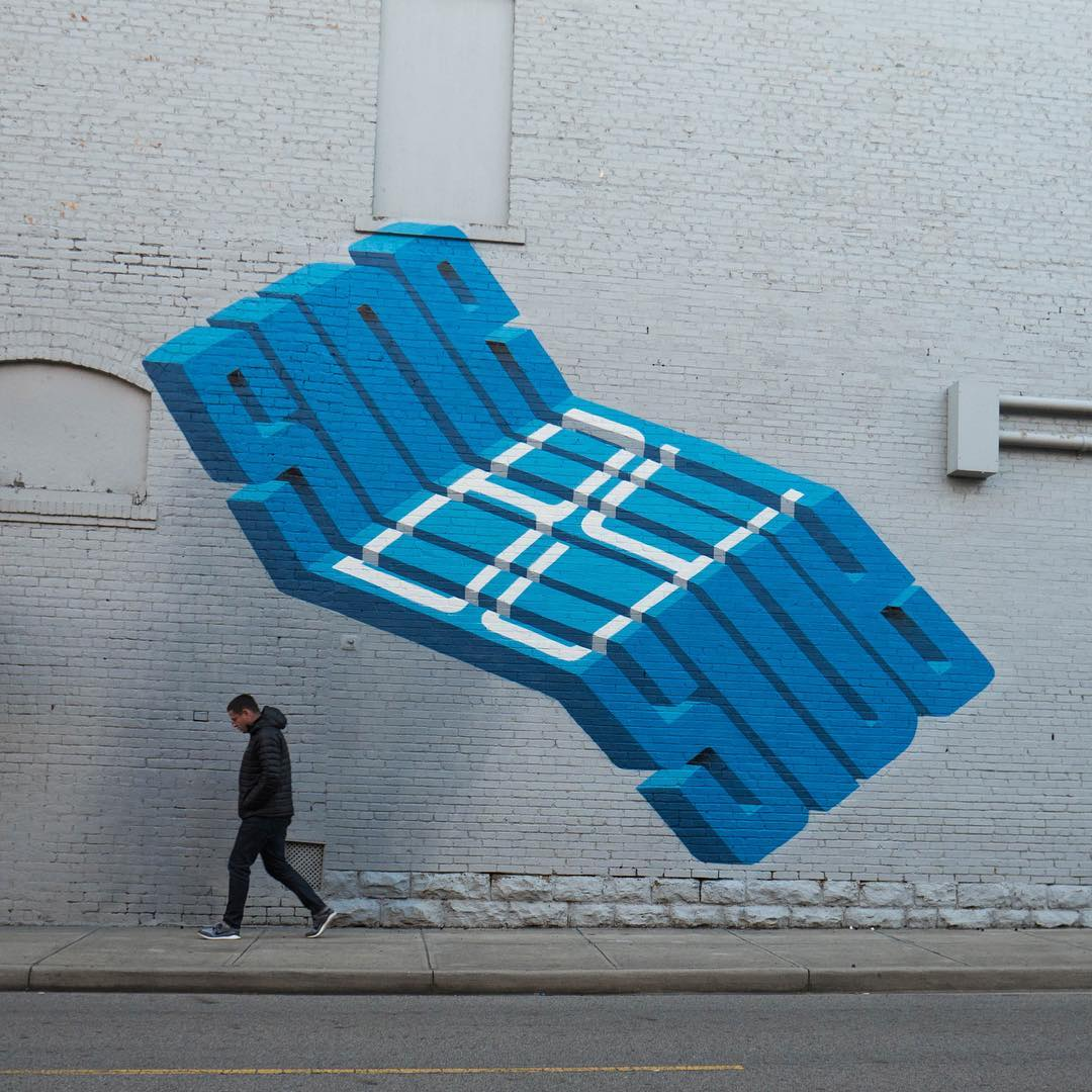 Expressive Text Loops, Folds, And Ties Itself In Knots In 3D Murals By Pref