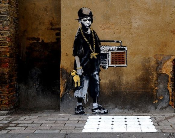 banksygilette square fusshop Two New Banksy Paintings Spotted in London