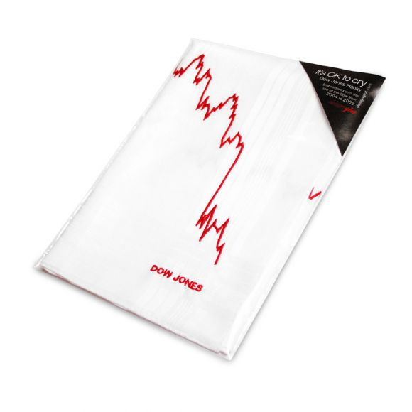 hanky packaged sm Dow Jones Hanky    Its ok to cry. Seriously, youve lost a lot of money!