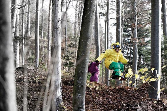 action 43k0538 11 Zimtstern Leaves   Snowboarding on Leaves