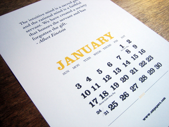 printable 2010 calendar quotes january Creative Meditations for 2010