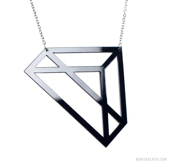 triangle Triangle acrylic necklace.