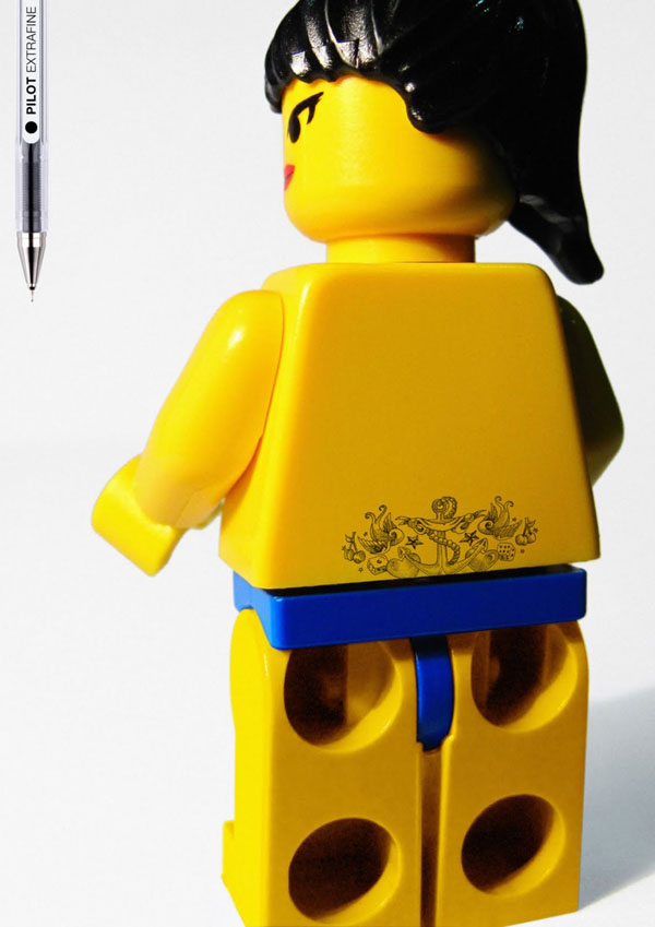 Grey Barcelona, Spain – Pilot Extrafine: Legoman tattoo
