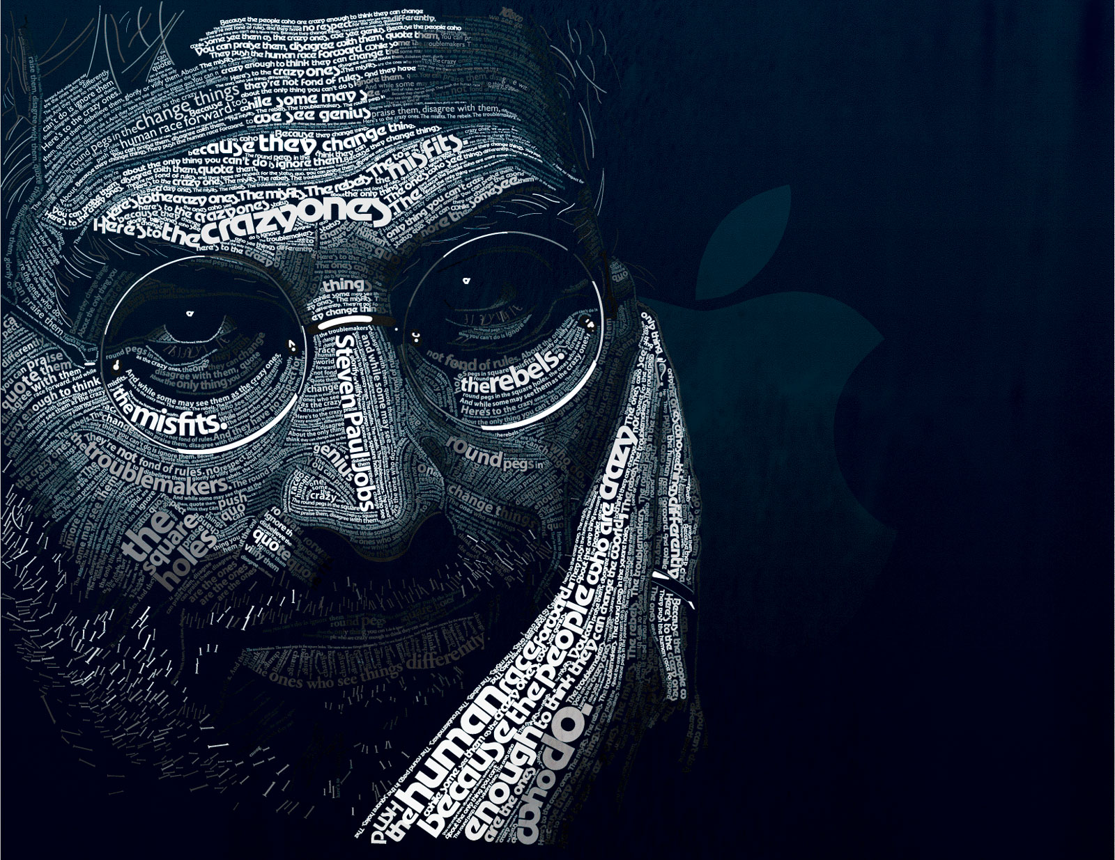 Steven Paul Jobs by dylanroscover 67 Wonderful Typographic Portraits