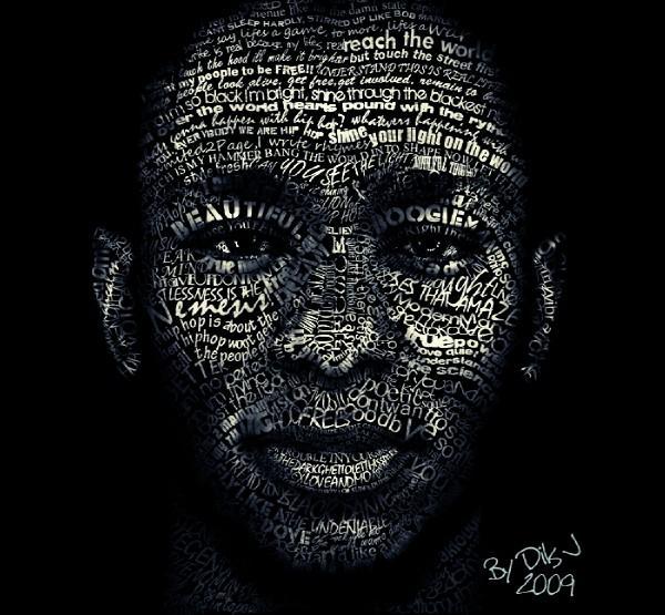 mos def lyric portrait by DilsJ 67 Wonderful Typographic Portraits